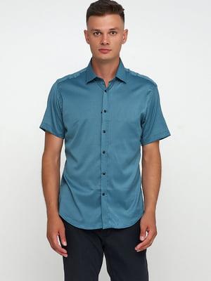 Сорочка бірюзового кольору з візерунком   5679945