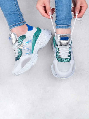 Кросівки біло-зеленого кольору | 5644288