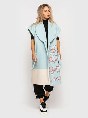 Пальто бирюзового цвета в принт | 5682582