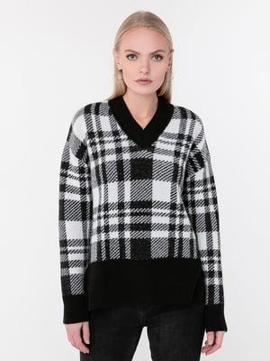 Пуловер двухцветный в клетку | 5657708