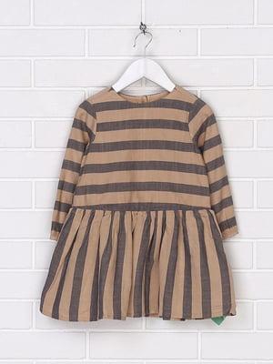 Сукня коричнева в смужку | 5678709
