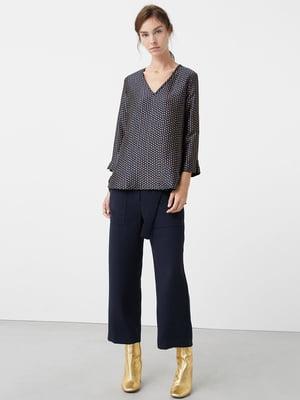 Блуза темно-синяя с принтом | 5233772