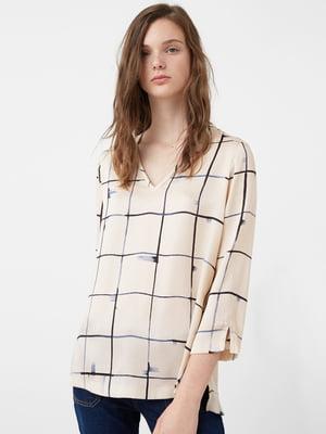 Блуза цвета экрю в клетку   5234216