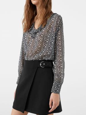 Блуза черная с принтом | 5234228