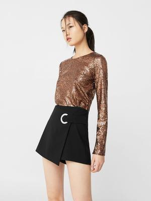 Блуза бронзового цвета декорированная | 5234637