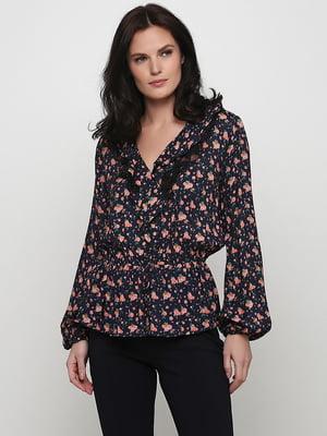 Блуза темно-синяя с цветочным принтом | 5238526