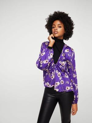 Блуза фиолетовая с цветочным принтом | 5668872