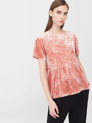 Блуза пастельно-розовая бархатная | 5669405