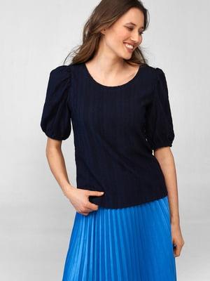 Блуза синяя с узором   5686016