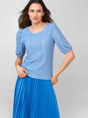 Блуза голубого цвета с узором   5686017