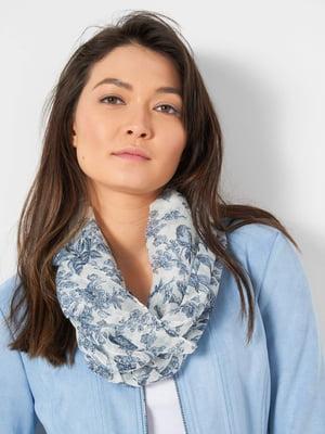 Платок бело-синий в цветочный принт   5686120