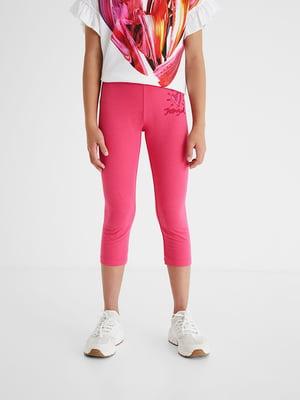 Леггинсы розового цвета с рисунком | 5686235