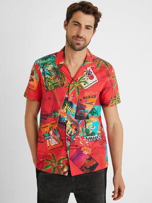Рубашка кирпичного цвета с принтом | 5686247