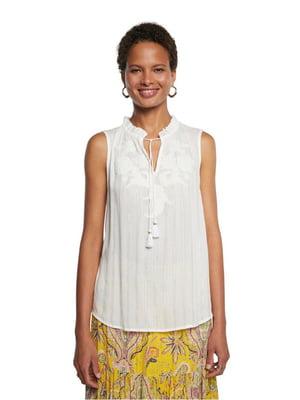 Блуза біла з візерунком | 5686256