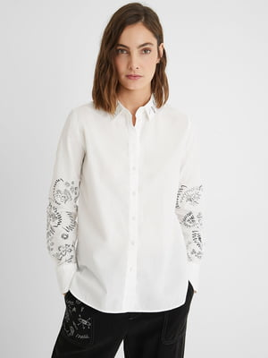 Рубашка белая с принтом | 5686258