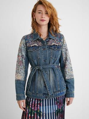 Жакет джинсовый синий с рисунком и цветочным принтом | 5686263