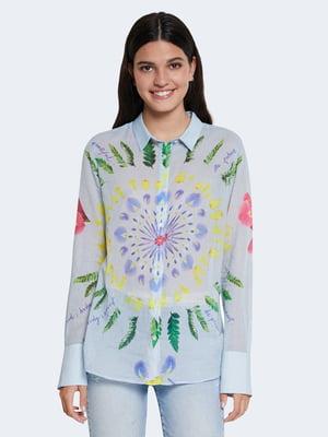 Рубашка голубого цвета с цветочным принтом | 5635979