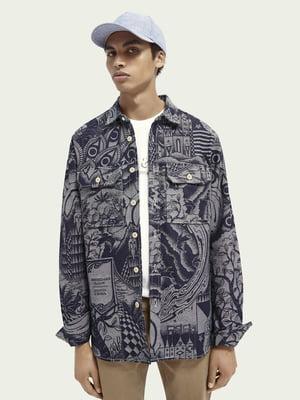 Куртка-пиджак джинсовая синяя с принтом | 5687471