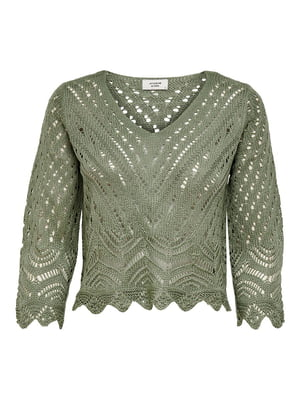 Пуловер оливкового цвета с узором | 5687582
