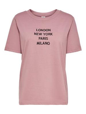 Футболка рожевого кольору в принт | 5687629