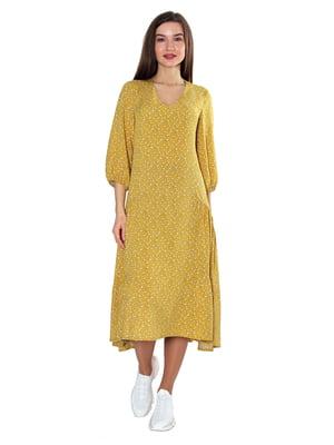 Платье горчичного цвета в принт | 5687980
