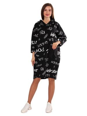 Сукня чорна у принт | 5687983