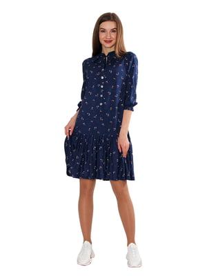 Сукня темно-синя у квітковий принт | 5687985
