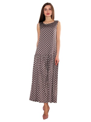 Платье бежевое в горошек | 5687996