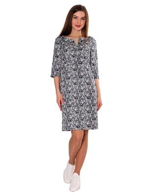 Платье черно-белое в принт | 5687997