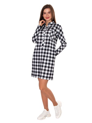 Платье черно-белое в клетку | 5687999