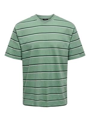 Футболка зеленая в полоску | 5687692