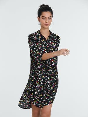 Сукня чорна в квітковий принт | 5686550