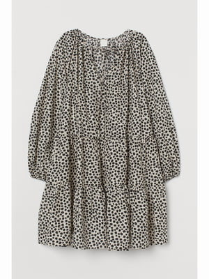 Платье бежевое в принт | 5689215