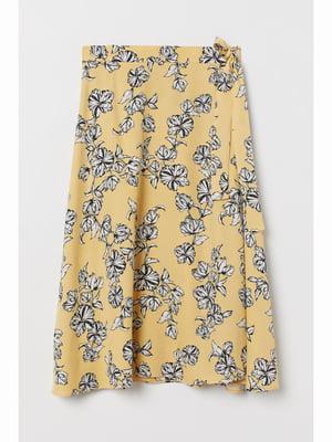 Спідниця жовта в квітковий принт | 5689476