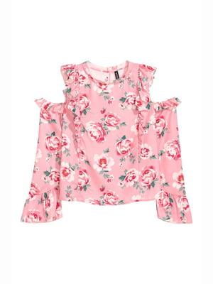Блуза рожева в квітковий принт | 5689516
