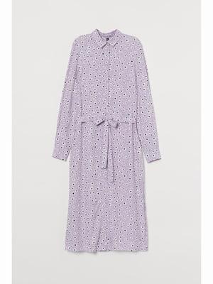 Сукня бузкового кольору в принт | 5689765