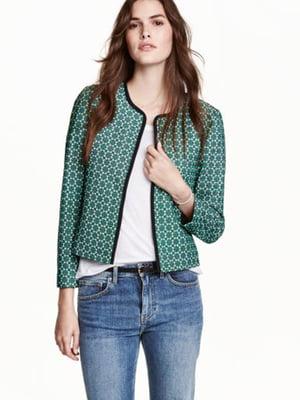 Жакет зеленый в принт | 5690245