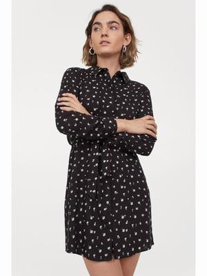 Сукня чорна в принт | 5690246