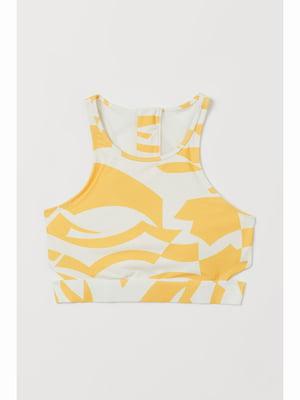 Бюстгальтер купальный желтый с рисунком | 5690559