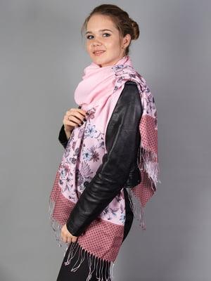 Палантин розовый в цветочный принт   5690944