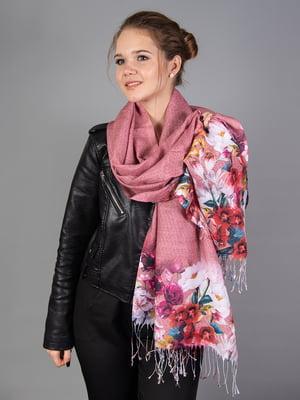 Палантин розовый в цветочный принт   5690949