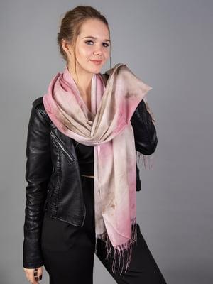 Палантин рожевий в розмитий принт | 5690957