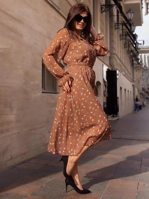 Платье терракотового цвета в принт   5690988