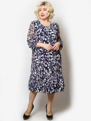 Платье темно-синее в цветочный принт | 5691132