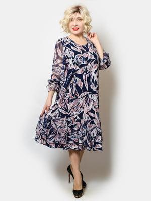 Платье темно-синее в принт | 5691133