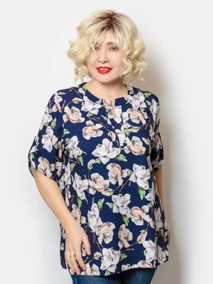 Блуза синя у квітковий принт | 5691135