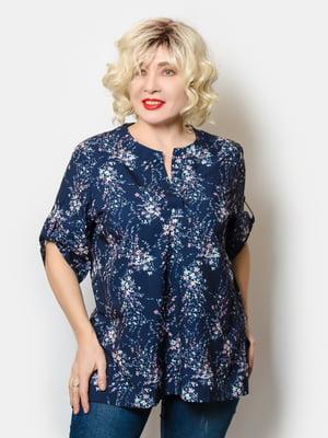 Блуза синя у квітковий принт | 5691137