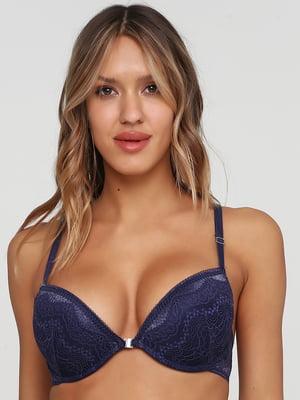 Бюстгальтер синий с узором | 5605426