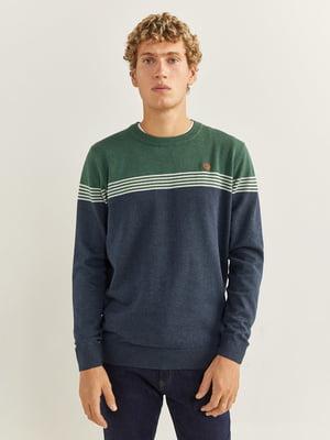 Джемпер сине-зеленого цвета в полоску | 5692833