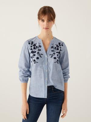 Сорочка блакитного кольору в смужку і з квітковим малюнком   5692857